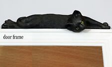Black Lazy cat figurine door topper with green eyes (silhouette)