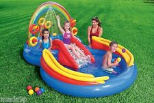 Inflatable INTEX Kids Fun Rainbow Ring Water Slide Play Center Pool Fill Air NEW