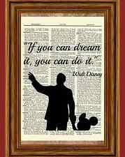 Walt Disney and Mickey Dictionary Art Print Quote Poster Picture holding hands