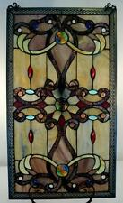 Elegant Tiffany Stained Glass Metal-Weave Border Window Panel