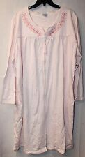 NEW WOMENS PLUS SIZE 3X WHITE & PINK EMBROIDERED KNIT DUSTER HOUSE BATH ROBE