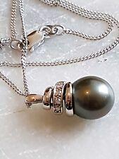 solid 18ct white gold black pearl & diamond pendant & chain
