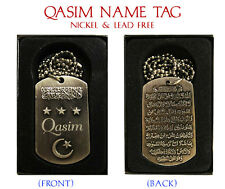 """QASIM"" Mens Arabic Name Necklace Tag - Birthday Wedding Ayatul Kursi Eid Gifts"