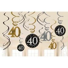 40th Birthday Swirl Decorations 12ct~ Sparkling Celebration Party Supplies Favor