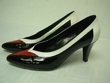 YVES SAINT LAURENT ITALY BLACK WHITE RED SNAKE HIGH HEEL PUMPS SHOES 6 1/2 M