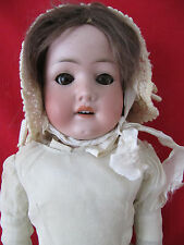"ANTIQUE GERMAN HEUBACH KOPPELSDORF DOLL 24"" WITH TEETH~BROWN EYES~LEATHER BODY"