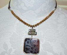 Silpada Sterling Silver, Bronze Copper Pearl, Shell, and Leather Necklace N1803.