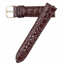 Hadley-Roma Men's Crocodile Embossed Brown Leather Watch Band Strap 19mm MS717