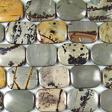 "22X30MM ARTISTIC STONE FLAT RECTANGLE BEADS 16"" ST"