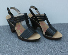 """NEW Hush Puppies """"Scarlet"""" Black Leather Sandals Size 6/39"""