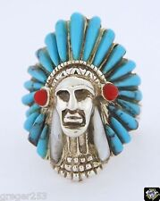 Native American Navajo Indian Chief Sterling Silver Turquoise Coral Ring 7.5