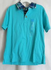 BOYS S 5-6 BLUE SOLID POLO SHIRT PLAID COLLAR S/S NWT ~ THE CHILDREN'S PLACE