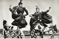 1934 Vintage 11x14 SCOTLAND Bagpipe Folk Music Dancers Plaid Kilt Costume Photo