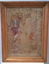 Antique Victorian Needlepoint Tapestry Featuring Man Woman Cupid Oak Frame EUC