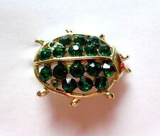 Vintage Green - Multi Color Crystal Rhinestone Beatle Brooch Pin