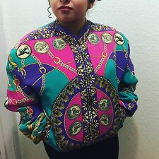 Vintage 1980s-90s Baroque style, Gold Chain, Versace inspired, bomber jacket.