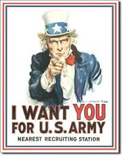 """12 1/2"""" X 16"""" TIN SIGN UNCLE SAM I WANT YOU FOR U.S ARMY METAL SIGN NEW"""