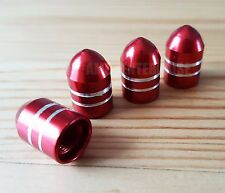 4x Domed RED Alloy Dust Valve Caps fits Schrader Cars SUV Quad Bikes Camper NEW