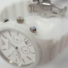 Stylish White Plated Chronograph Gents Ceramica Watch by Emporio Armani AR1453