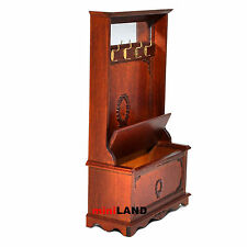 Coat Rack Hall Stand for 1:12 Scale dollhouse miniature wood seat