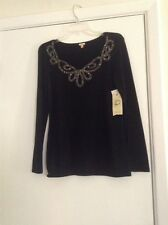Ladies, Dressy Sweater, Black with Gold Sequins, Reba, Size Small NWT
