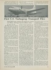 1951 Aviation Article First Flight of Convair Turboprop Turboliner Transport