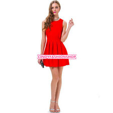 Sexy Red Women Backless Pleated Slim Bodycon Party Cocktail Mini Wedding Dress