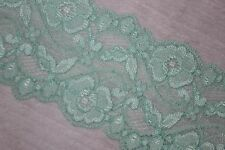 "2 yards Pastel Light Mint Green galloon STRETCH lingerie headband lace 3"" wide"