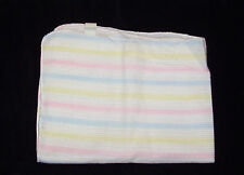 Beacon Open Weave Stripe Baby Blanket Pastel Blue Pink Yellow Acrylic Thermal