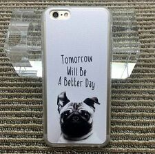 for iPhone 6 / 6S - Black White Puppy Dog Hard TPU Rubber Gummy Skin Case Cover