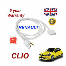 RENAULT CLIO Sistema Audio iPhone 3GS 4 4S IPOD USB & 3,5 mm AUX Cavo Bianco