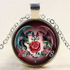 Dragon and flower Cabochon Tibetan silver Glass Chain Pendant Necklace #2145