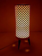 Fabulously Retro Mid Century Atomic Coppercraft Punched Metal Cylinder Lamp