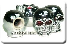 Chrome Skull Tire Shrader Valve Stem Caps Package of 4 Fits Cars Trucks Harleys