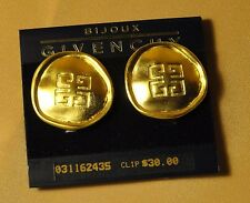 GIVENCHY LOGO Gold Tone Clip-on Earrings