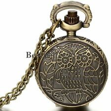 Vintage Bronze Owl Pattern Numerals Dial Quartz Pocket Watch Pendant Necklace
