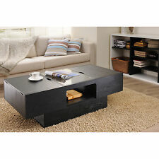 Furniture of America Stevie Black Finish Hidden Storage Coffee Table Accent NEW