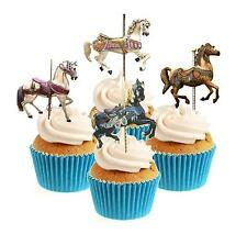 Novedad Carrusel Caballos Mix 12 Comestibles Stand Up Oblea papel Cake Toppers
