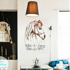 DIY Flower Horse Head Feather Wall Art Sticker Removable Vinyl Quote Decal Mural