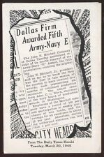 Postcard DALLAS TX  Mitchell Co WWII Army/Navy Munitions Factory #1 view 1940's