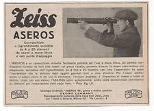 Pubblicità epoca 1923 CANNOCCHIALE ZEIS ASEROS advert werbung publicitè reklame
