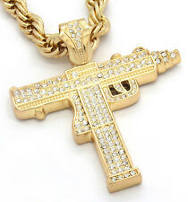"Mens Gold Iced Out Sub Gun Uzi Pendant Hip-Hop 30"" Rope Necklace Chain"