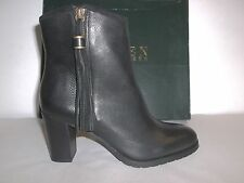 Ralph Lauren Size 8 M Carah Black Tumbled Leather Ankle Boots New Womens Shoes
