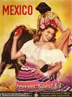 Mexico Mexican Senorita Bull Fighter Vintage Travel Art Poster Advertisement