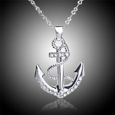 18k white gold plated silver color Austrian crystal rhinestone anchor necklace