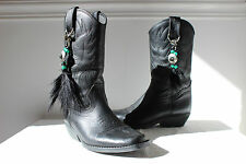 Vintage black leather mid calf cowboy western work boots feather/bead UK4 ladies