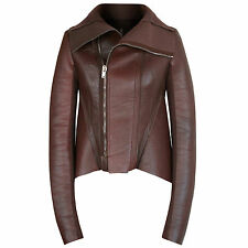 RICK OWENS LILIES leather bonded neoprene structured ox blood fin jacket 42 NEW