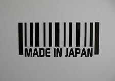 2 x Made in JAPAN Barcode vinyl stickers / Decals for Cars or Bikes 12 colours