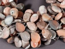 """WELL CUT PINK & GRAY BOTSWANA AGATE 15X20MM FACETED TEARDROP BEADS 16"""" STRAND"""