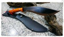 """THAI WOOD HANDLE CARBON STEEL HUNTING KNIFE 13.5"""" WITH VINTAGE LEATHER SHEATH"""